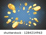 realistic gold coins explosion. ... | Shutterstock .eps vector #1284214963