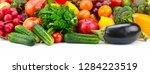 set fruits and vegetables... | Shutterstock . vector #1284223519