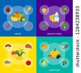 cartoon healthy food signs... | Shutterstock .eps vector #1284238933