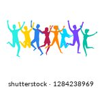 cartoon color contour jumping... | Shutterstock .eps vector #1284238969