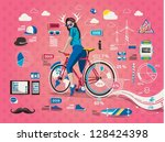hipster girl with bicycle info... | Shutterstock .eps vector #128424398