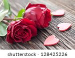 Roses And Hearts On Wood