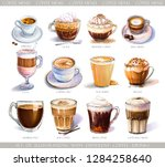 set with diferent coffee drinks ... | Shutterstock . vector #1284258640