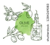 collection of bottle with olive ... | Shutterstock .eps vector #1284269083