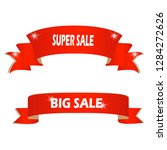 sale banner. red curved ribbon ... | Shutterstock .eps vector #1284272626