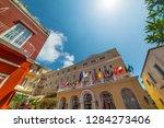 sun shining over world famous... | Shutterstock . vector #1284273406
