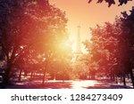 world famous eiffel tower at... | Shutterstock . vector #1284273409
