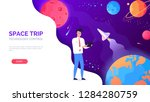 space rocket trip technology... | Shutterstock .eps vector #1284280759