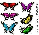 beautiful color butterflies set ... | Shutterstock .eps vector #1284362836