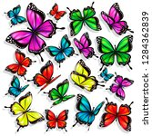 beautiful color butterflies set ... | Shutterstock .eps vector #1284362839