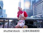 happy beautiful asian woman in... | Shutterstock . vector #1284386800