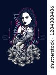 women with tattoo sacred... | Shutterstock .eps vector #1284388486
