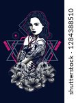 women with tattoo sacred... | Shutterstock .eps vector #1284388510