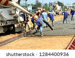 pouring cement for construction ... | Shutterstock . vector #1284400936