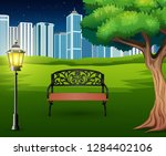 cartoon of chairs in green park ... | Shutterstock .eps vector #1284402106