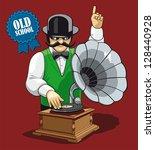 old school music. humorous... | Shutterstock .eps vector #128440928