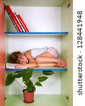 tired 5 year old  kid sleeping... | Shutterstock . vector #128441948