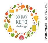 30 days keto challenge. round... | Shutterstock .eps vector #1284422443