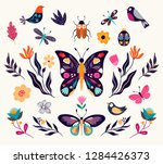 Stock vector hand drawn collection of spring summer elements with butterflies birds and flowers 1284426373