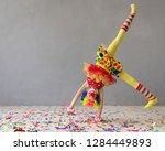 funny kid clown. happy child... | Shutterstock . vector #1284449893