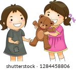 illustration of a kid girl... | Shutterstock .eps vector #1284458806