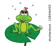 Frog Sitting On A Lily Pad With ...