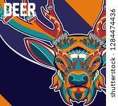 deer head with beautiful...   Shutterstock .eps vector #1284474436