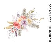 watercolor bouquet with flowers ...   Shutterstock . vector #1284475900