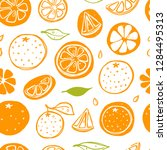 seamless pattern with oranges.... | Shutterstock .eps vector #1284495313
