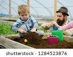 eco garden. eco garden workers... | Shutterstock . vector #1284523876