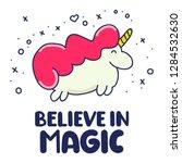 believe in magic. funny quote ... | Shutterstock .eps vector #1284532630