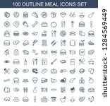 100 meal icons. trendy meal... | Shutterstock .eps vector #1284569449