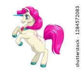 cute cartoon unicorn with long... | Shutterstock .eps vector #1284572083