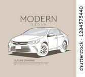 luxury modern sedan outline... | Shutterstock .eps vector #1284575440