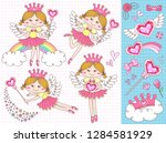 set cupids cute girl with...   Shutterstock .eps vector #1284581929