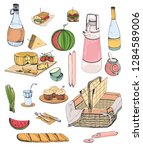 collection of picnic food or... | Shutterstock .eps vector #1284589006