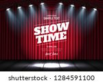 showtime banner with curtain... | Shutterstock .eps vector #1284591100
