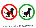 no dog fouling sign. pooping... | Shutterstock .eps vector #1284607696