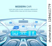 modern car driverless view.... | Shutterstock .eps vector #1284611779