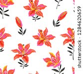 flowers design pattern with... | Shutterstock .eps vector #1284620659