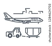 thin line icon luggage towing... | Shutterstock .eps vector #1284624703