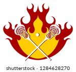 lacrosse putter and ball on... | Shutterstock .eps vector #1284628270