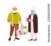 cute elderly couple with... | Shutterstock .eps vector #1284633049