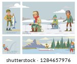 flat colorful fishing hobby...   Shutterstock .eps vector #1284657976