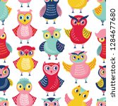 seamless pattern with cute... | Shutterstock .eps vector #1284677680