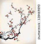 birds and winter sweet | Shutterstock .eps vector #128469890