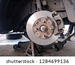 disk brake after turning by...   Shutterstock . vector #1284699136