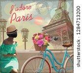Vintage Postcard With Eiffel...