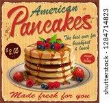 vintage pancakes metal sign.   Shutterstock .eps vector #1284714823