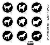 vector   set of white dog on... | Shutterstock .eps vector #128471930